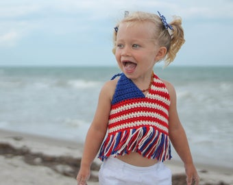 """Vintage toned Hadley Paige """"JULY"""" Top. 100% cotton. Infant, toddler, children's fashion. Boho. Beach wear. 4th of July. Swimwear. Summer."""