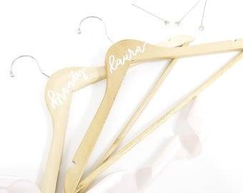 Custom calligraphy bridal hanger - natural wood hangers for bridal party, wedding, bride