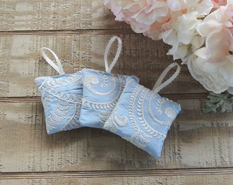 Modern Bridal Lavender Sachets, Embroidered Blue Silk, Organic Provence Lavender Something Blue Custom Order Wedding Favors