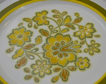 17 Pieces Noritake Craftone Rumba  Dinner Plates and Salad Plates - Mid-Century Modern Yellow, Orange, Green Floral Pattern
