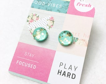 Mint green and gold flecked glitter Hypo-Allergenic, metal Free, 10mm Glass Dome Post Studs by Jules Jewelry Box