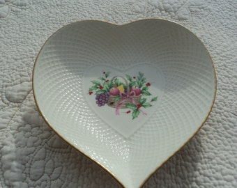 Lovely heart of bone china /from Mikasa/entitled Christmas Spirit/ floral with gold trim