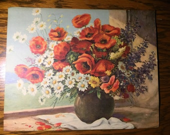 1950s Lithograph - Still Life Flowers on Window Sill