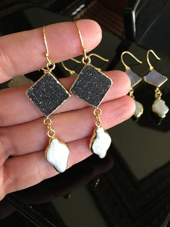 Druzy and pearl earrings