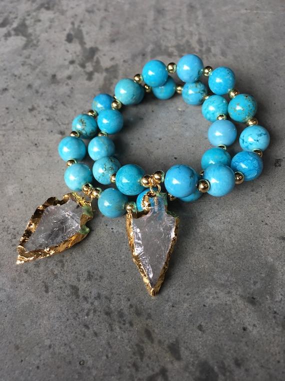 Arrowhead bracelet, turquoise agate, boho jewelry, arrowhead jewelry, boho chic