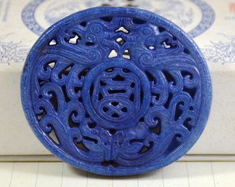 Unique Antique Lapis Blue Jade Pendant Double Side  Dragon and Phoenix Carved Pendant Amulet Talisman for Your Handmade Jewelry