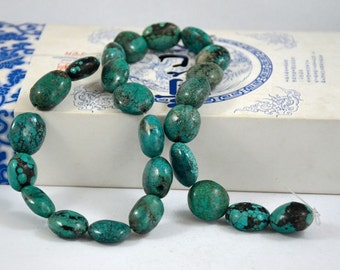 Natural Turquoise Beads Real Turquoise Old Turquoise Beads 12beads Nugget Oval
