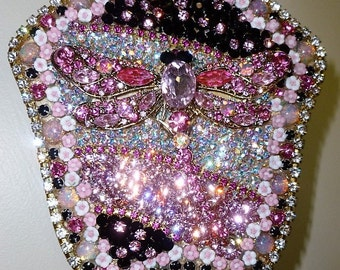 Vintage Ladies Hand Mirror - crystal embellished - dragonfly