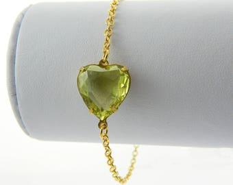 Pale Yellow Crystal Heart Bracelet