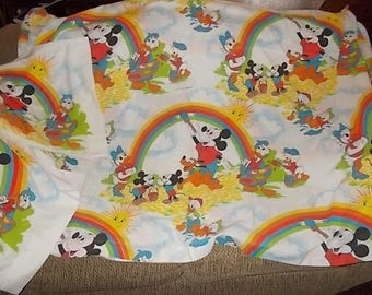 Mickey Mouse, Donald Duck ,Daisy Duck Pluto Rainbow, Disney Flat Twin Sheet and 2 Pillow Cases, Vintage Disney Sheets, Vintage Sheets  s