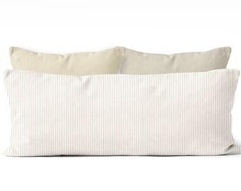 ticking body pillow cover,farmhouse bedroom decor, 20x54 inch pillow cover,stripes,body pillow case, long pillow cover, tan body pillow