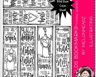 LDS Bookmarks clip art - Printable - Young Women