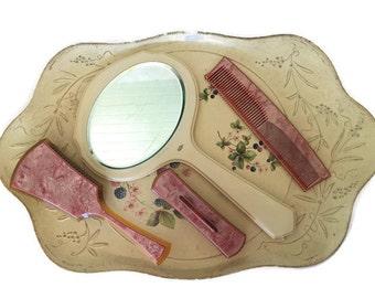 Art Deco Vanity Set Shabby Cottage Chic Boudoir Pink Rose and Cream Italian Tray Dubarry Mirror