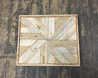 """Reclaimed Wood Wall Art 13""""x 11"""" Natural White"""