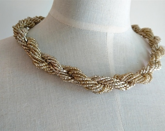 Bead Necklace 1950s, Two Twisted Strands of Beads, Vintage, Pale Gold