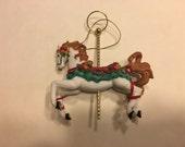 Vintage Rocking Horse Ornament, 100 mm (BR)