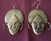 Vintage Face Earrings.  Brass, Large, Hooks Style,Asian or African Style, Unusual.