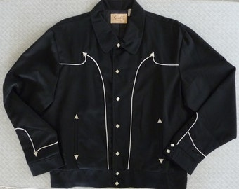 NWT Scully P-651 men's black Western Rockabilly jacket. White piping. Snaps. Large to XL . Discontinued line now very hard to find