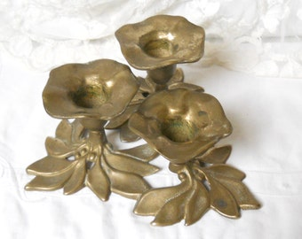 vintage brass candle holder brass candle stick shabby chic for 3 candles vintage candle holder