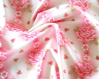 vintage floral fabric pink floral fabric patchwork fabric quilting fabric pink roses fabric french fabric 205