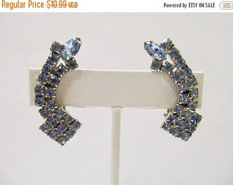 On Sale Vintage Prong Set Light Blue Rhinestone Earrings Item K # 553