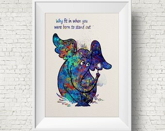 Dr Seuss Quote, Horton Hears A Who Inspired, Children's Print, Kids room, Home Decor, Wall art, Watercolor, Horton, Colorful