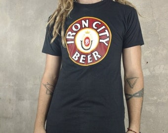 Vintage Iron City Beer T Shirt, 70s medium or large black tee shirt, pittsburgh brewery collectible