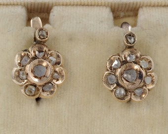 Gorgeous Victorian .90 Ct rose cut diamond daisy earrings