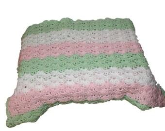 Mint Baby Blanket, Crochet Baby Afghan, Carriage Blanket, Receiving blanket, Newborn Blanket, Crib Blanket, Baby Afghan, Pink Afghan,