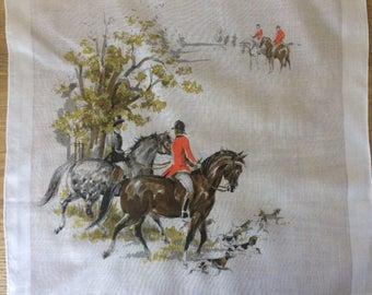 Vintage Printed Fox Hunt Scene Handkerchief, Vintage Graphic Equestrian Hanky,
