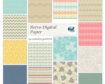Rustic old Printable Digital vintage paper pack - Background retro digital paper - Seamless pattern - Rusteam
