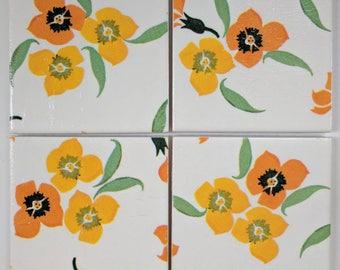 Ceramic Coasters in Emma Bridgewater Wallflower Yellow