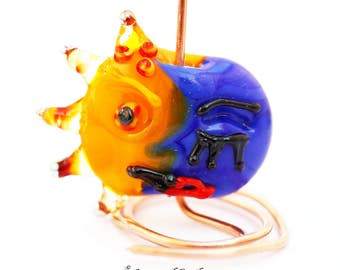 loversofbeads SRA artist Lampwork moon and sun together pendant glass - S873
