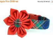 ON SALE Red and Navy Flannel Plaid Dog Collar and Flower; Winter Dog Collar Flower Set: Ivy League Flannel