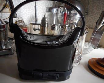 Vintage 1950's, 60's Black Shiny Patent Faux Leather Purse