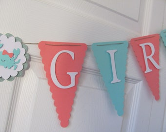 Coral and Turquoise  Baby Shower Banner, Baby Shower Decorations, Under the Sea Baby Shower Banner