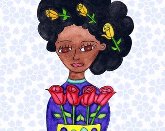 Painting / Art Print / Unique Gift / Parents Children Kids  / Nursery Baby Girl's Room / Frida Flower Girl Wedding Wall Art / Roses