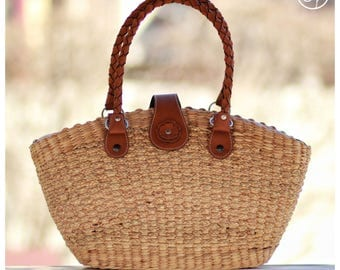 Straw bag, Straw tote, market tote, picnic basket, leather handle (Shelley tote)