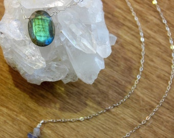 Sterling Silver Labradorite Necklace, Intrinsic Journeys Jewelry, Handcrafted, Healing Crystal Jewelry