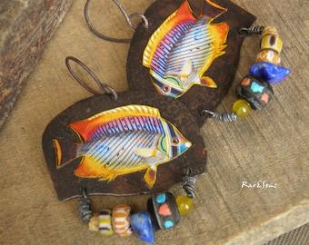 Tribal earrings-rustic style,exo-vintage earrings-jungle pop-multicolored fish-yellow-orange-blue-rainbow