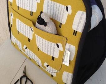 XL Knitting Maker's Tote Canvas Sheep, KOKKA sheep project bag, knitting project bag