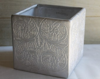 Roost Silver Metal Planter or Storage Box - Made in India - Engraved - Embossed - Home Decor - Kitchen Utensil Holder - Flowers