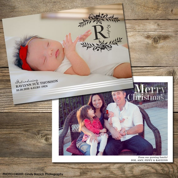 Photo Christmas Card : Faux Silver Foil Holiday Birth Announcement 2-sided Photo Holiday Card Printable