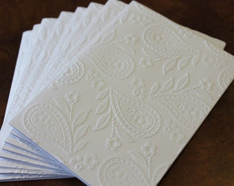 Paisley card set, set of eight embossed cards in white, gift idea, rustic card set, thank you, birthday, sympathy, anniversary cards