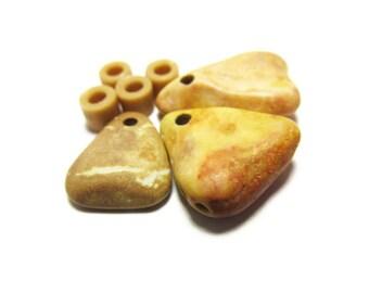 Triangular Stones, Pie Wedges, Beach Stone Beads, Natural Shape Stones, Lake Michigan, Glass Beads, Bead Supply, Golden Crust Color, Three