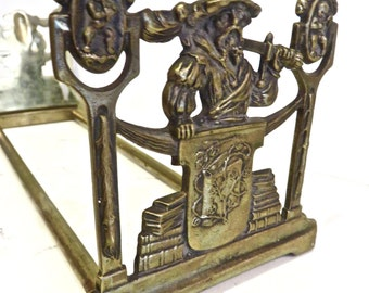 Vintage, Brass Book Rack, Expandable Bookends, Cast Brass, Book,/Library/Office, Italian