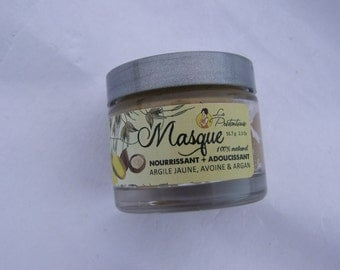 Yellow clay, oat and argan oil nourishing and softening face mask 56.7 grams