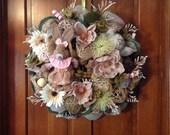 Pastel Bunny Burlap and Mesh Wreath