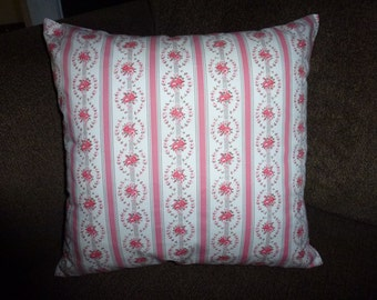 Shabby Roses Pink and White Vintage Ticking Pillow COVER *Removable Cover with Envelope Back
