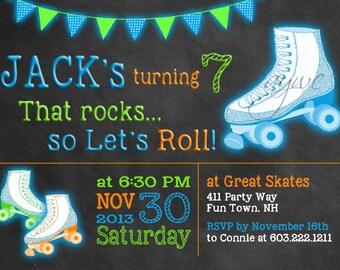 Rollerskating Birthday Invitation Boy Printable Rollerskating Invitations Rollerskating Party Invites Boy Tween Any Age Chalkboard Lets Roll
